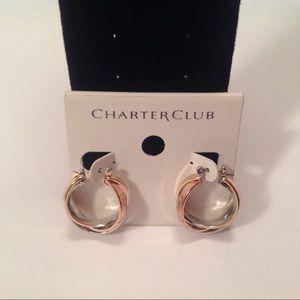 Charter Club Tri Color Hoop Earrings New